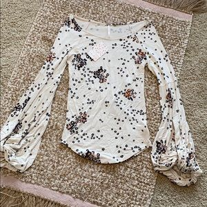 Free People Long Sleeves Top with Bell Cuffs